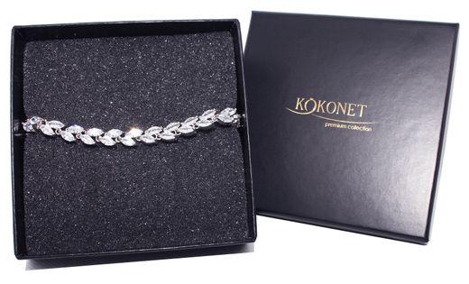 BRANSOLETKA srebrna ślubna wesele KLASA diamenty LUKSUS listki 8-0002