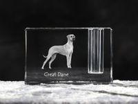Dog niemiecki - kryształowy stojak na długopis z wizerunkiem psa, pamiątka, dekoracja, kolekcja.