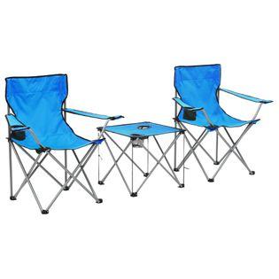 Stolik I Krzesła Turystyczne, 3 Elementy, Niebieskie