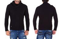 Czarny modny sweter CIPO BAXX C-6360 XL KOŁNIERZ