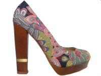 Szpilki na platformie buty na słupku kolorowe 38