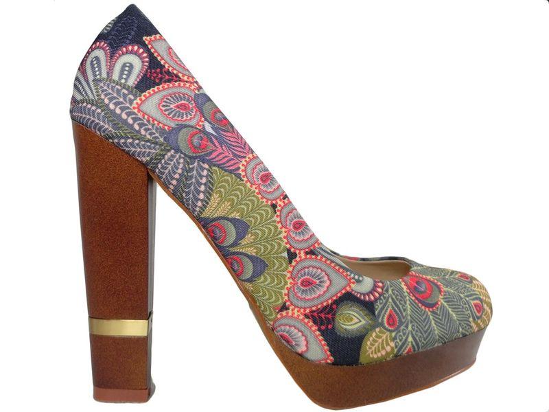 Szpilki na platformie buty na słupku kolorowe 38 zdjęcie 1