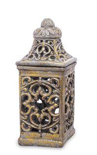 Lampion Zdobiony szary z Nakryciem 29x12,5x12,5 cm