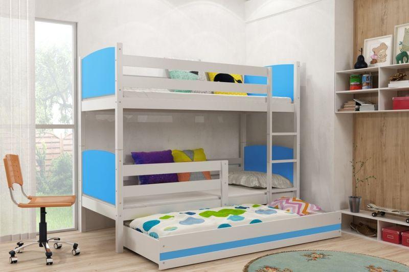 łóżko łóżka Piętrowe Dziecięce Tami 160x80 Dla Dzieci 3 Osobowe Meble