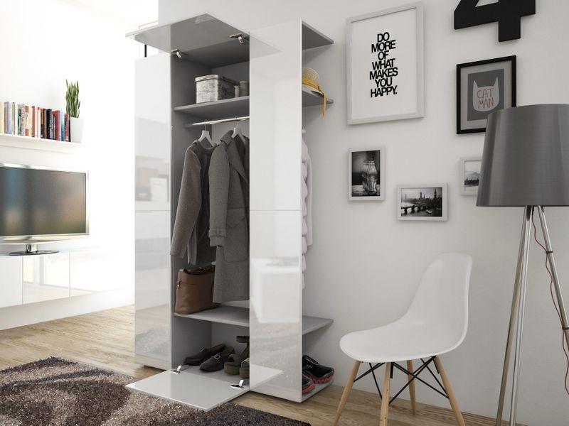 Elegancka Garderoba Cube 4 Do Przedpokoju Biały Czarny Połysk