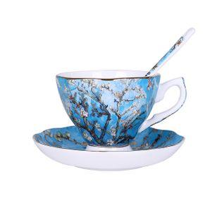 Piękne - Malowane - Filiżanki Do Kawy - Z Talerzykami I Łyżeczką Niebieski Z Drzewem
