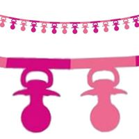 Girlanda papierowa SMOCZKI różowa Baby Shower 3,6m