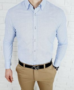 Blekitna koszula z delikatnym wzorem print VP1640 - XXL