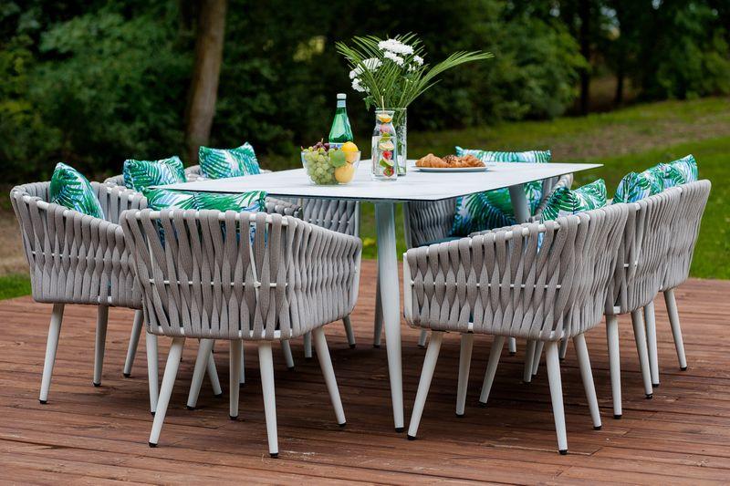 Ekskluzywny aluminiowy zestaw mebli obiadowych 6 osób zdjęcie 3