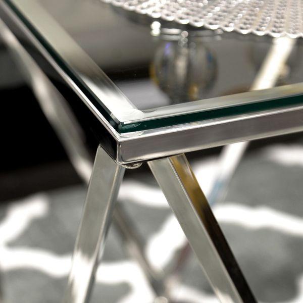 Stolik Kawowy Chrom Szkło 50x50 Modern Design Ct 022 Silver