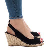 Czarne sandały koturny 2894 r.40
