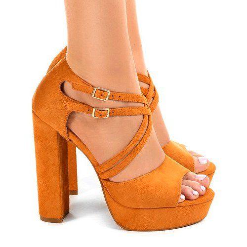 Pomarańczowe sandały na słupku zamszowe r.39 zdjęcie 3