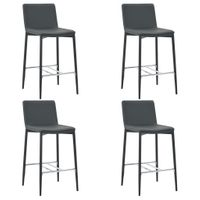 VidaXL Krzesła barowe, 4 szt., szare, sztuczna skóra