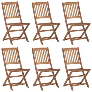 Lumarko Składane krzesła ogrodowe z poduszkami, 6 szt., drewno akacjowe;