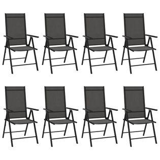 Lumarko Składane krzesła ogrodowe, 8 szt., tkanina textilene, czarne!