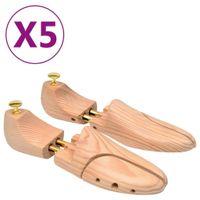 Prawidła do butów, 5 par, rozmiar 42-43, lite drewno sosnowe