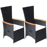 Rozkładane krzesła ogrodowe 2 szt., poduszki, rattan PE, czarne