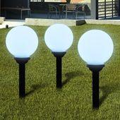 Ogrodowe lampy solarne LED 20cm, 3szt z uziemieniem Spike
