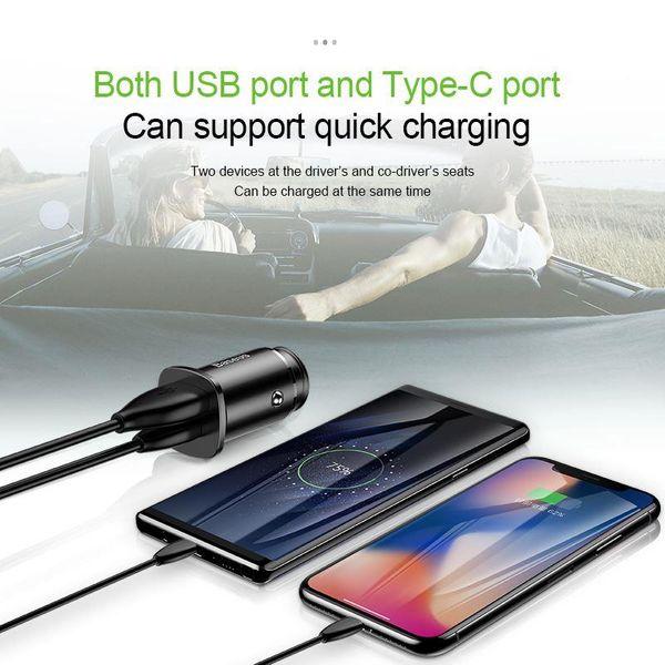 Baseus Square - Ładowarka samochodowa USB-A QC 4.0 + USB-C PD 3.0 30 W (czarny) zdjęcie 12