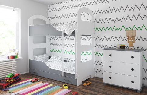 Łóżko piętrowe JACEK 160x80 + 2 materace piankowe + pojemna szuflada