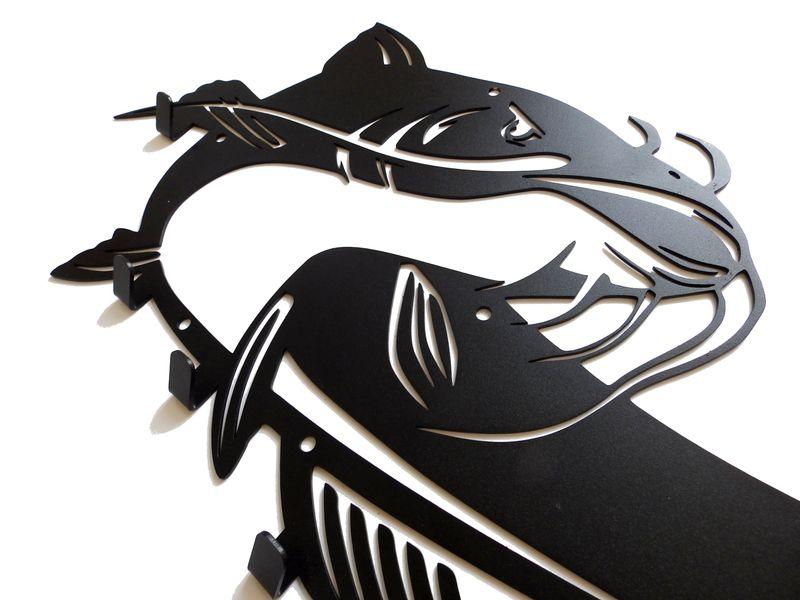 Metalowy wieszak ścienny na ubrania klucze - RYBA SUM zdjęcie 3