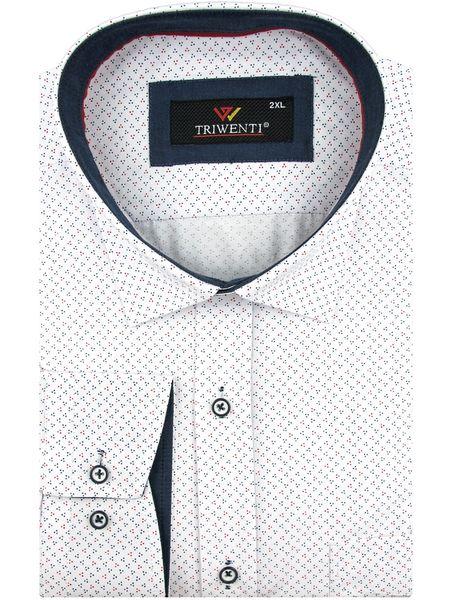 74eb7698604bcb Duża Koszula Męska Triwenti biała w kropki duże rozmiary A048 47/48 zdjęcie  1