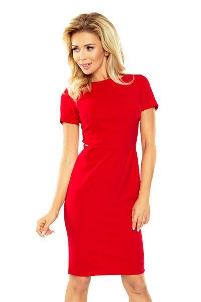 150-2 Sukienka DOROTA - elegancka - CZERWONA Rozmiar - XL zdjęcie 1