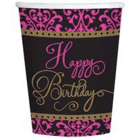 KUBECZKI urodziny HAPPY BIRTHDAY czarne RÓŻOWE x18