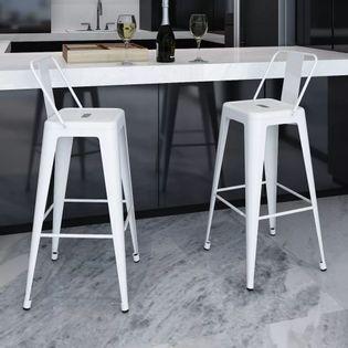 Stołki barowe, 2 szt., białe, stalowe