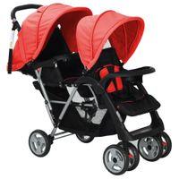 Wózek dla bliźniąt tandem czerwony VidaXL