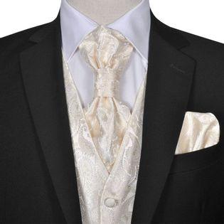 Męska kamizelka ślubna ze wzorem z krawatką i chusteczką rozm. 52 Krem