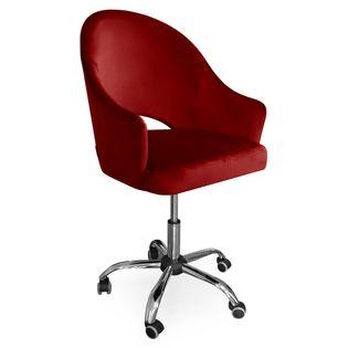 Fotel obrotowy GODA / czerwony / noga chrom / MG31