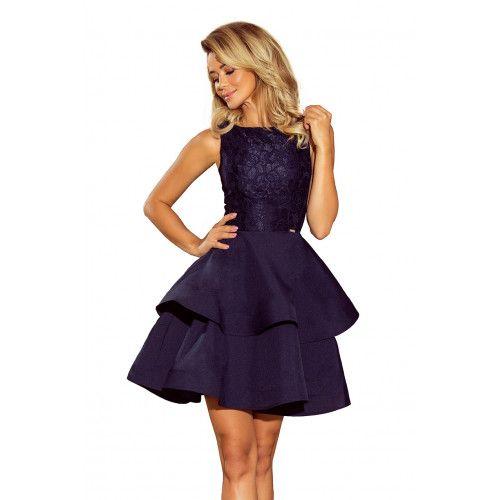 LAURA podwójnie rozkloszowana sukienka z koronkową górą - GRANATOWA XL zdjęcie 5