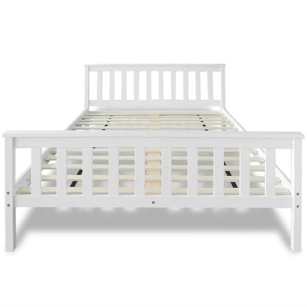Łóżko z materacem z pianką memory, 140x200 cm, sosnowe, białe zdjęcie 8