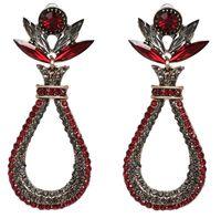 Kolczyki czerwone WISZĄCE LUX cyrkonie kryształki