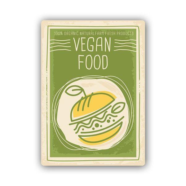 Wydruk na metalu, Retro – wegańskie jedzenie 40x60 zdjęcie 1