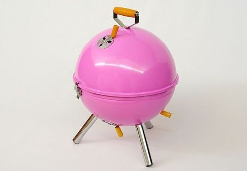 Grill ogrodowy węglowy okrągły, mini grill bbq kolor różowy na Arena.pl