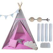 Namiot Tipi Softfun pink night mata + 3 poduszki bawełna MINKY zdjęcie 1