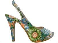 Kolorowe sandałki na szpilce i platformie buty w kwiaty 40