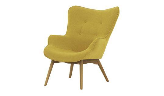 Fotel uszak Ducon Ontario 40 żółty, nogi jasny dąb