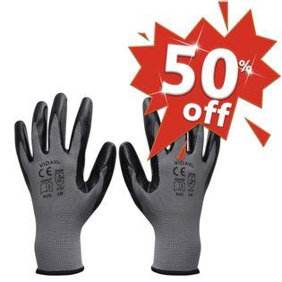 Rękawice robocze, nitrylowe, 1 para, szaro-czarne, rozmiar 9/L