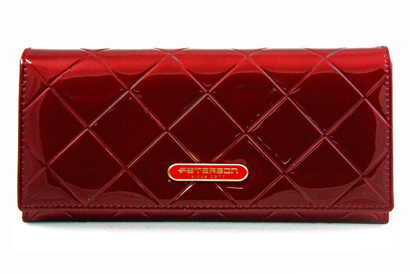 Duży czerwony portfel damski, lakierowany, pikowany, RFID, Peterson zdjęcie 4