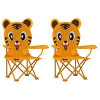 Krzesełka ogrodowe dla dzieci, 2 szt., żółte, tkanina
