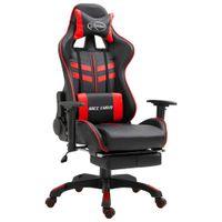 Fotel dla gracza z podnóżkiem, czerwony, sztuczna skóra