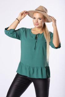 monochromatyczna bluzka z rozcięciami na ramionach i wiązaniem przy szyi