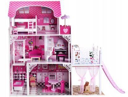 Drewniany domek dla lalek XXL zjeżdżalnia winda