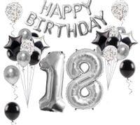 Zestaw balonów 18 lat CZARNE SREBRNE konfetti urodziny happy birthday