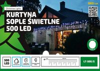 Kurtyna Sople LED 24,5 m • 500 LED • wyłącznik czasowy • zewnętrzne lampki choinkowe NR 1771 Ciepły biały