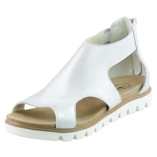 Srebrne Sandały Płaskie Zabudowane Fabio 995 37