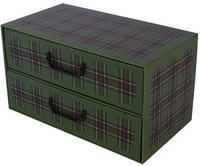 Pudełko Kartonowe 2 Szuflady Poziome Szkocka Krata Zielona